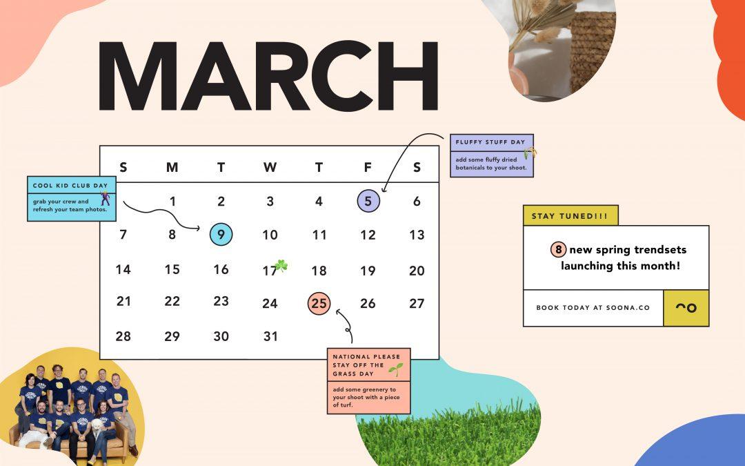 soona's March content calendar